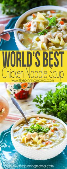 This really is the world's best homemade chicken noodle soup recipe. So simp… This really is the world's best homemade chicken noodle soup recipe. So simple but so good! We will be eating this soup all winter! Chicken Noodle Soup Rotisserie, Best Chicken Noodle Soup, Homemade Chicken Soup, Chicken Soup Recipes, Chicken Soups, Noodle Soups, Recipe Chicken, Chicken Tacos, Potato Recipes