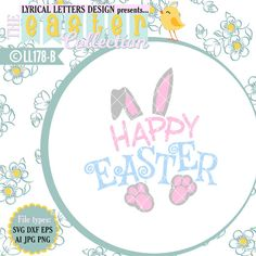 Happy Easter Hoppy With Bunny Tail LL178 By Lyricalletters