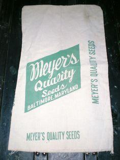OLD CLOTH SEED BAG SACK-MEYER'S QUALITY SEEDS BALTIMORE MARYLAND #MEYERSQUALITYSEEDS