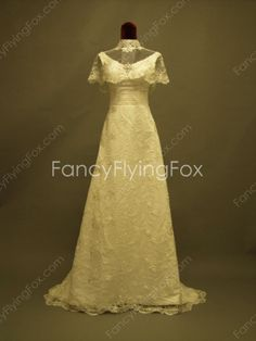 fancyflyingfox.com Offers High Quality Scoop Neckline A-line Full Length Lace Wedding Dresses With Bolero ,Priced At Only US$255.00 (Free Shipping)