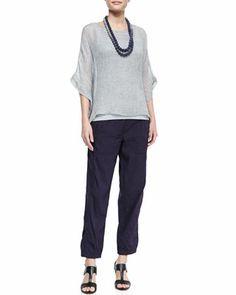 Woven Short-Sleeve Poncho Top, Slim Long Tank, Cargo Linen-Blend Ankle Pants & Mini Striped Beaded Necklace by Eileen Fisher at Neiman Marcus.