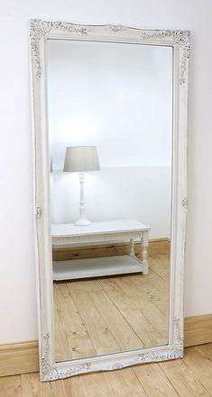 "Isabella Vintage White 'Shabby Chic' Full Length Antique Framed Floor Mirror (66""x30""): Amazon.co.uk: Kitchen & Home"