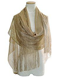 Shimmer Silver Pashmina Metallic Shawl Sparkle Foil Glitter Scarf For Women