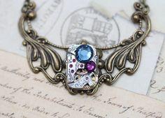 Steampunk Necklace Steam Punk Jewelry Brass by inspiredbyelizabeth, $45.00