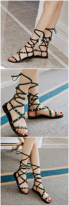 This pair of sandals is designed with boho style, studded decoration and flat style. Check more surprises from www.azbro.com