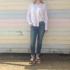 Master the art of smart casual this spring. We have teamed our M.i.h Jeans Shirt with J BRAND Jeans + Grenson Shoes Loafers. www.collenandclare.com  #womenswear #southwold #aldeburgh #burnham #style #summerfashion #springstyle #ootd #whatimwearing