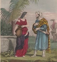 Rebecca At The Well, Vintage Bible Lithograph, Genesis 24 KJV by GospelHymnsVintage on Etsy https://www.etsy.com/listing/517689607/rebecca-at-the-well-vintage-bible