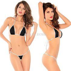mylunn (TM) Cheap Sexy Micro Mini Tiny Brazilian Sling Triangle Bra Top thong Bikini Lingerie Set Swimwear Beachwear Nightwear Erotic Women…