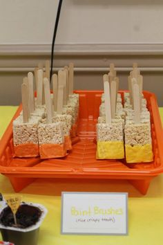 1st birthday construction paint brush rice crispy treat