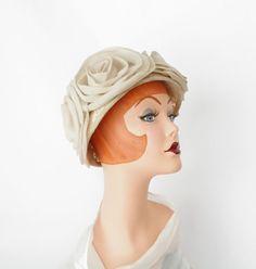 1960s toque hat, bucket hat w/ cabbage roses. $46.00, via Etsy.