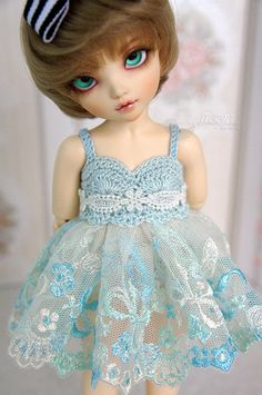 Light turquoise dress for TINY bjd LittleFee by frezje on Etsy