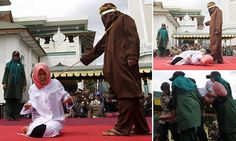Screaming in agony, a woman collapses as she and a man in Indonesia, are caned under Sharia law, merely for being 'seen in close proximity' to each other without being married. (29 December 2015) -- Because of the political elite and NWO masters, the West is forced to accept the customs and culture of these countries. Any criticism is immediately censored, including social media platforms.