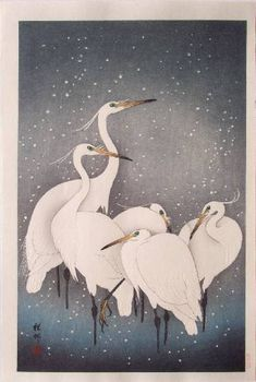 """A Group of Herons in the Snow"" (""Setchu Gunro"") -KOSON  Ukiyo-e Gallery"