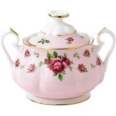 Royal Albert New Country Roses Pink Vintage Sugar Bowl ($31) ❤ liked on Polyvore featuring home, kitchen & dining, serveware, backgrounds, pink, tea, decor, rose, vintage sugar bowl and vintage bone china