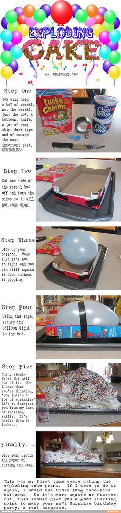 Exploding cake prank