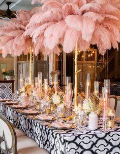 Blush Centerpiece, Elegant Centerpieces, Ostrich Feather Centerpieces, Feather Wedding Centerpieces, Pink Wedding Decorations, Feather Wedding Decor, Feather Decorations, Pink Feathers, Ostrich Feathers