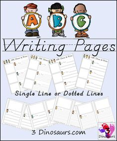 Free ABC Draw & Write Pages 4 different types - 3Dinosaurs.com