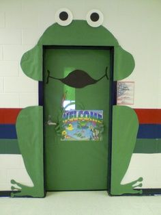 classroom frog theme | This is my creation of a Frog on my classroom door. As you can see he ...