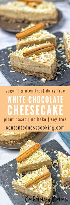 My Cinnamon White Chocolate Cheesecake is a vegan and gluten free no-bake cake. Make this stunner from just 6 ingredients in 2 easy steps. Soy free, plant based, and simply the best.