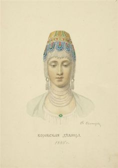Young woman from Borov, Russia. drawing by Fedor Grigoryevich Solntsev from `Clothes Of Russian Country` kind of traditional Russian headdress Russian Beauty, Russian Fashion, Russian Art, Russian Style, Russian Traditional Dress, Traditional Dresses, Costumes Around The World, Court Dresses, Russia