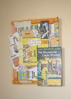 Nancy Drew Books and the game Clue just seem to go together to me, so I combined them in art.  I can remember happily reading the mysteries as well as spending time playing Clue with my sister and friends. Even the colors from the vintage 1970s games and book covers worked together.    It has been created from pieces of Clue game boards, Clue game cards, and the cover and pages from a vintage Nancy Drew book. The parts have been glued and collaged together on a sturdy back piece. A vintage…