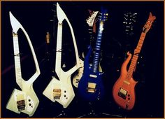 The Peach Cloud along side the darker Blue Cloud (with black pot knobs - later dark blue's had gold knobs) and the white Model C guitars. Prince Cream, Prince Concert, Prince Paisley Park, Blue Clouds, Roger Nelson, Prince Rogers Nelson, Recording Studio, The Darkest, Musicals
