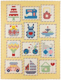 "Snapshots QuiltThe ""Snapshots"" quilt is comprised of 12 novelty blocks that each capture a happy moment in everyday life. The blocks are pieced, and they're all charming on their own."
