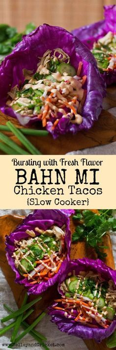 These tasty Bahn Mi Chicken Tacos are packed with fresh and bright flavor. They make the perfect healthy weekday dinner. All you got to do is just set it and forget it in the SLOW COOKER and your Bahn Mi tacos will be ready by dinner time! This recipe is super easy, and only uses a few simple ingredients but packs a ton of flavor. Add these tacos into your weekly dinner rotation, you will not be disappointed! {Grain-free, Gluten-free, Paleo}