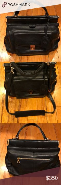 Tory Burch Priscilla Small Satchel Tory Burch Priscilla Small Satchel Black Leather great condition. Comes with removable top shoulder strap, removable interior Mirror, two separate compartments. Comes with tag and I have the receipt Tory Burch Bags Satchels