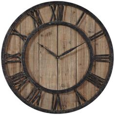 "Uttermost Powell 30"" Round Wooden Wall Clock"