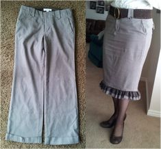 Pants to skirt...without the ruffle on the bottom....pretty much just need the pattern.