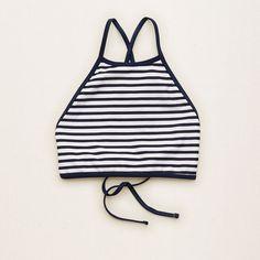 Aerie Hi-Neck Crop Bikini Top ($35) ❤ liked on Polyvore featuring swimwear, bikinis, bikini tops, swim crop top, strappy bikini, swim tops, navy blue bikini top and strappy swimsuit top