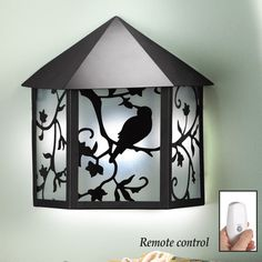 Bird on Tree Branch Metal Wall Lamp with Remote