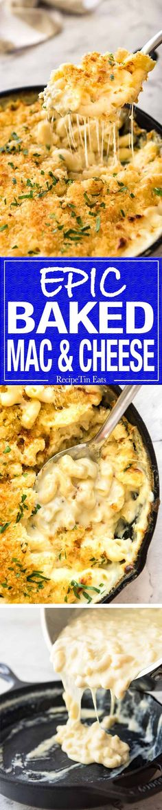 The ultimate classic Baked Mac and Cheese, with an insane cheesy sauce and topped with an irresistible golden, buttery breadcrumb topping. Macaroni Cheese Recipes, Mac And Cheese, Pasta Recipes, Cooking Recipes, Dinner Recipes, Baked Cheese, Baked Macaroni, Cheese Food, Weight Watcher Desserts