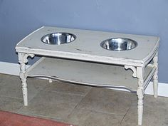 Coffee table turned dog dish stand