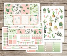 Painted Cactus Planner Stickers for use with Erin Condren ECLP Vertical Planners