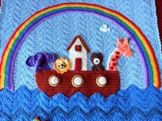 Noah's Ark baby blanket detail.