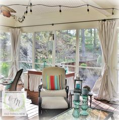 DIY Drop Cloth Curtains used to pollen proof outdoor spaces Screened Porch Curtains, Screened Back Porches, Porch Windows, Outdoor Ideas, Outdoor Spaces, Farmhouse Window Treatments, Sleeping Porch, Decorating Ideas, Craft Ideas