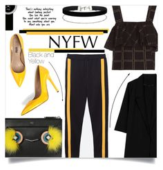 """""""NYFW: Black and Yellow edition"""" by sonny-m ❤ liked on Polyvore featuring ace & jig, WithChic, Fendi, Miss Selfridge, Christian Dior and NYFW"""
