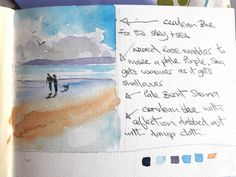 Watercolour sketchbook notes and observations. How to paint beach scenes and seascapes in watercolour Watercolor Paintings Nature, Beach Watercolor, Watercolor Sketchbook, Watercolor Tips, Watercolour Tutorials, Seascape Paintings, Watercolor Techniques, Watercolor Landscape, Abstract Watercolor