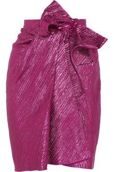 Lanvin Bow-embellished lamé skirt NET-A-PORTER.COM