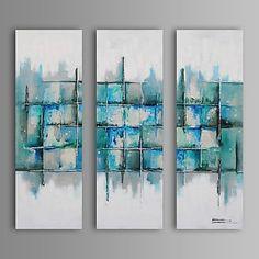 Handgemalte+Abstrakt+/+FantasieModern+/+Europäischer+Stil+Drei+Paneele+Leinwand+Hang-Ölgemälde+For+Haus+Dekoration+–+EUR+€+146.99