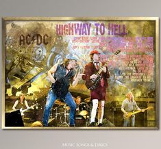 AC-DC Highway to Hell, rare Poster,Watercolor Poster Print,Best gift for musicians and your friends who love AC-DCan Australian hard rock/blues rockband, formed in 1973 by brothers Malcolm and Angus Young. Beatles Band, The Beatles, Highway To Hell, Angus Young, Blues Rock, Music Songs, Watercolor Paper, Hard Rock, Rock Bands
