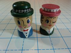 Wooden Man and Woman Salt and Pepper Shakers  by RetroDaddyVintage, $7.99