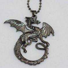 Winged Dragon Necklace Jewelry Antiqued Silver - Goth, Fa...
