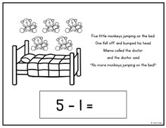 """A Pinch of Kinder: PDF's that you can convert into SMARTNotebook files to go with combining the song """"5 Little Monkeys Jumping on the Bed"""" with subtraction number sentences"""