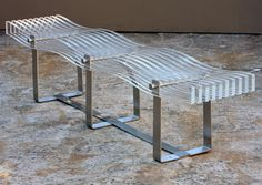 Plexiglass slat wave bench