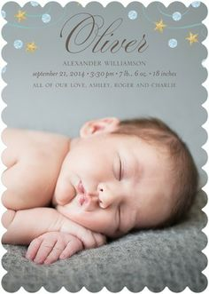 How precious is this? Starry Arrival - Boy Photo Birth Announcements - simplyput by Ashley Woodman in Reef Blue