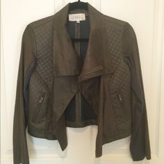 🌴Host Pick🌴 Georgie Faux Suede Jacket A modern Moto jacket that's soft, cropped, with quilted panels in front and all over back. Super cute!!!  Great condition. Dark army green. Georgie Jackets & Coats