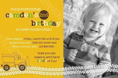 Love this card! Dump Everything - Construction Truck - Printable Birthday Party Invitation - Digital Card Design File for Boy Digger 1st, 2nd, 3rd, 4th, 5th. $16.00, via Etsy.